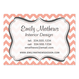 Deep Peach Chevron; zigzag Large Business Cards (Pack Of 100)