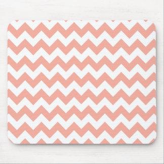 Deep Peach Chevron; zigzag Mouse Pad