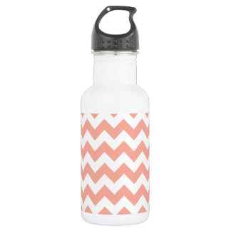 Deep Peach Chevron; zigzag Water Bottle