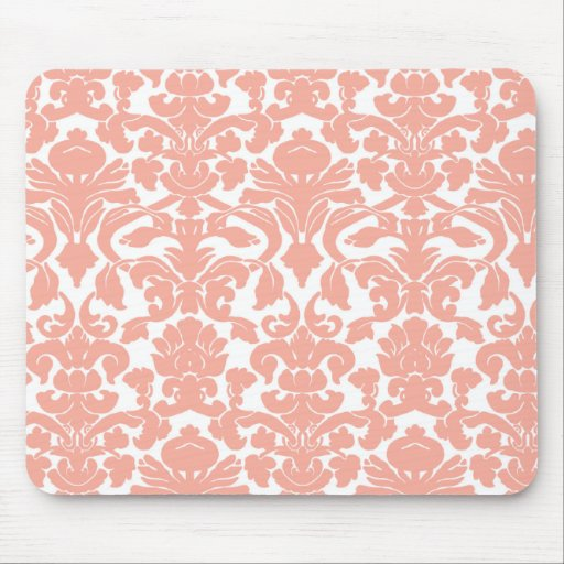 Deep Peach Damask Mouse Pad