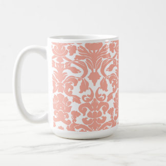 Deep Peach Damask Classic White Coffee Mug