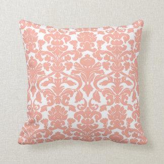 Deep Peach Damask Throw Pillow