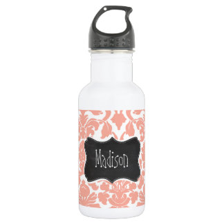 Deep Peach Damask; Vintage Chalkboard Stainless Steel Water Bottle