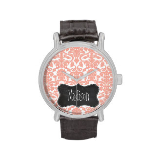 Deep Peach Damask; Vintage Chalkboard Wristwatches