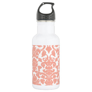 Deep Peach Damask Water Bottle