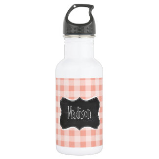 Deep Peach Gingham; Chalkboard Stainless Steel Water Bottle