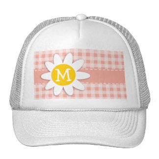Deep Peach Gingham; Daisy Hat