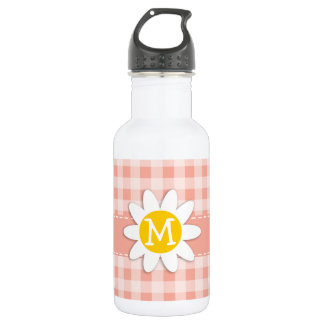 Deep Peach Gingham; Daisy Water Bottle