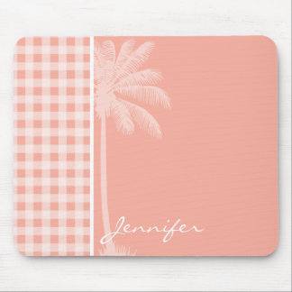 Deep Peach Gingham; Palm Mouse Pad