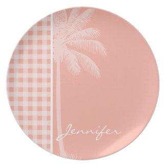 Deep Peach Gingham; Palm Party Plates