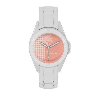 Deep Peach Gingham; Palm Watches