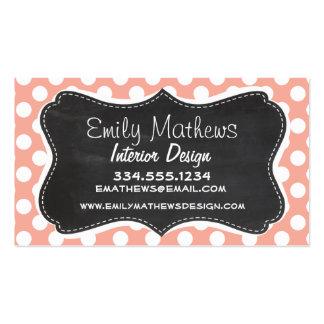 Deep Peach Polka Dots Chalkboard Business Cards