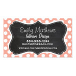 Deep Peach Polka Dots; Chalkboard Business Cards