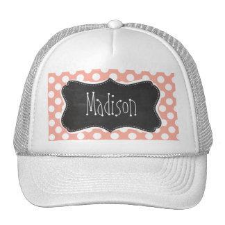 Deep Peach Polka Dots; Chalkboard Trucker Hat