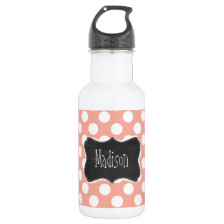 Deep Peach Polka Dots; Chalkboard Stainless Steel Water Bottle