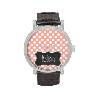 Deep Peach Polka Dots; Chalkboard Wristwatches