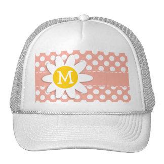 Deep Peach Polka Dots; Daisy Trucker Hat