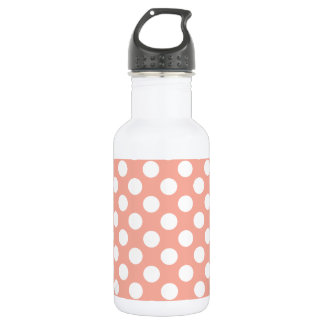 Deep Peach Polka Dots Water Bottle