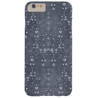 Deep Pewter Grey Silvery Floral Damask Pattern Barely There iPhone 6 Plus Case