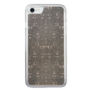Deep Pewter Grey Silvery Floral Damask Pattern Carved iPhone 7 Case