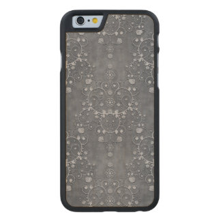 Deep Pewter Grey Silvery Floral Damask Pattern Carved® Maple iPhone 6 Slim Case
