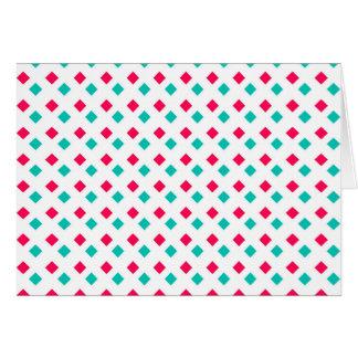Deep Pink and Aqua Diamonds on White Card