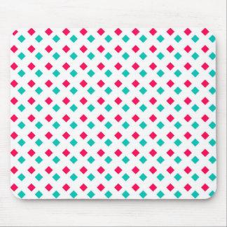 Deep Pink and Aqua Diamonds on White Mouse Pad