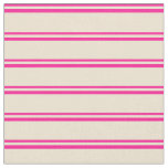 [ Thumbnail: Deep Pink and Beige Colored Striped/Lined Pattern Fabric ]