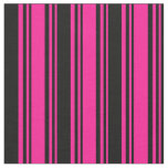 [ Thumbnail: Deep Pink and Black Colored Pattern of Stripes Fabric ]
