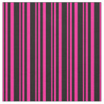 [ Thumbnail: Deep Pink and Black Colored Stripes/Lines Pattern Fabric ]