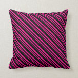 [ Thumbnail: Deep Pink and Black Colored Stripes/Lines Pattern Throw Pillow ]