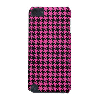 Deep Pink and Black Houndstooth Ipod Case