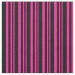 [ Thumbnail: Deep Pink and Black Lines Fabric ]