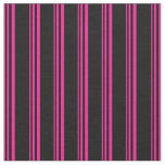 [ Thumbnail: Deep Pink and Black Lines Pattern Fabric ]