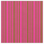[ Thumbnail: Deep Pink and Brown Stripes Pattern Fabric ]
