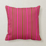 [ Thumbnail: Deep Pink and Brown Stripes Pattern Throw Pillow ]
