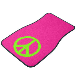 Deep Pink and Chartreuse Peace Symbol Car Mat