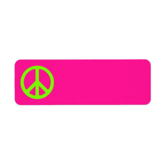 Deep Pink and Chartreuse Peace Symbol Label