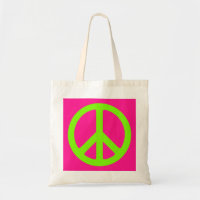 Deep Pink and Chartreuse Peace Symbol Tote Bag