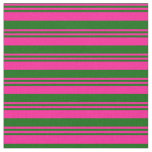 [ Thumbnail: Deep Pink and Dark Green Stripes/Lines Pattern Fabric ]