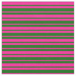 [ Thumbnail: Deep Pink and Dark Green Stripes Pattern Fabric ]