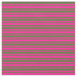 [ Thumbnail: Deep Pink and Dark Olive Green Stripes Fabric ]