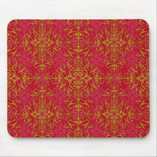 Deep Pink and Gold Fancy Damask Style Pattern Mouse Pad