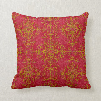 Deep Pink and Gold Fancy Damask Style Pattern Throw Pillow