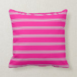 [ Thumbnail: Deep Pink and Light Gray Lined Pattern Pillow ]