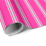 [ Thumbnail: Deep Pink and Light Gray Lined Pattern Wrapping Paper ]