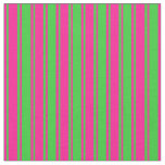 [ Thumbnail: Deep Pink and Lime Green Colored Lines Pattern Fabric ]