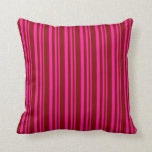 [ Thumbnail: Deep Pink and Maroon Lines/Stripes Pattern Pillow ]