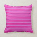 [ Thumbnail: Deep Pink and Orchid Colored Lines Throw Pillow ]