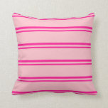 [ Thumbnail: Deep Pink and Pink Striped/Lined Pattern Pillow ]
